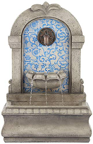 John Timberland Manhasset 30 1/4' High Stone and Blue Outdoor Floor Fountain