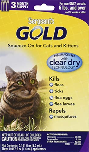 Sergeant's Gold Flea and Tick Squeeze-On Cat Over 6-Pound