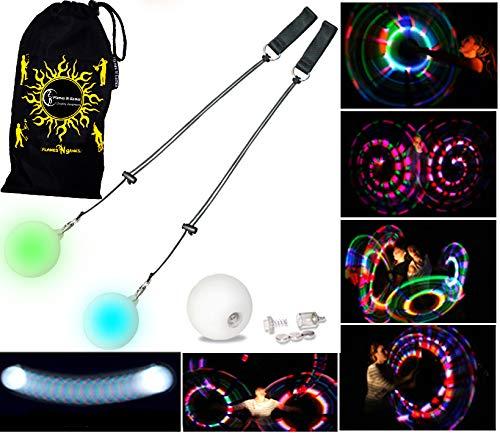 Pro Glow Poi - LED Poi Set + Stoff Reisetasche! Nachtleuchtender Poi inkl. Batterien. Langsam Strobe Leuchtpoi Luminous Pois Led.