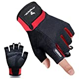 Atercel Workout Gloves, Best Exercise Gloves for Weight Lifting, Cycling, Gym, Training, Breathable & Snug fit, for Men & Women (Red, M)