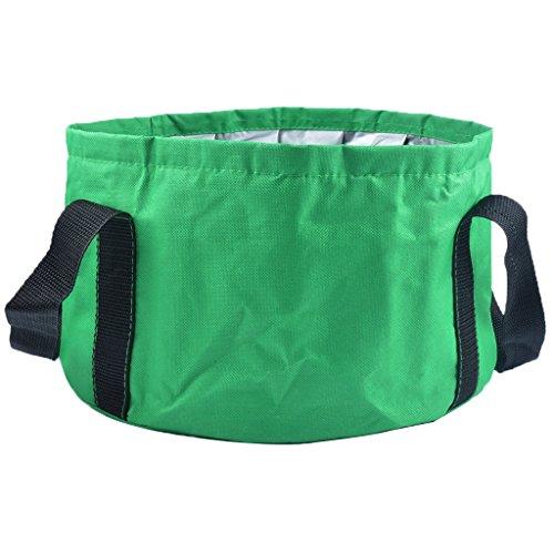 Hooyee Balde dobrável multifuncional portátil para viagem ao ar livre, lavatório para acampamento, caminhada, viagem, pesca, lavagem, Verde