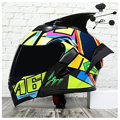 Casco de motocicleta de cara completa abatible Bluetooth Cascos de motocicleta modulares Visera de sol doble Certificación ECE Auriculares Bluetooth para hombres adultos,C,L 59~60cm
