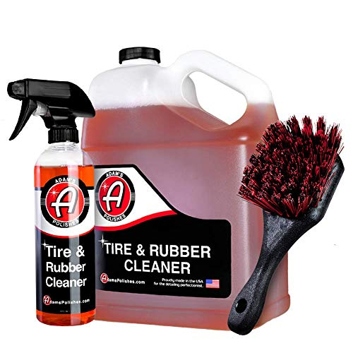 Adam's Tire & Rubber Cleaner - Car Wash Tire Cleaner   Tough Car Detailing Formula   Car Cleaning Kit Removes Discoloration from Rubber Plastic Trim Floor Mats   Wheel Cleaner Tire Shine Detail Brush