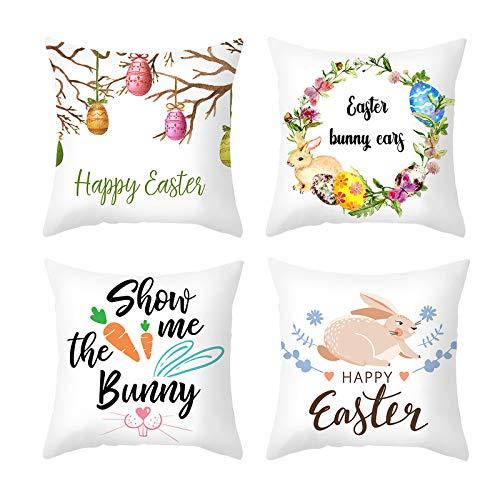 4 fundas de almohada de Pascua, fundas de cojín cuadradas de lino y algodón, fundas de cojín con estampado de Pascua, fundas de cojín para sofá, decoración del hogar, 45 cm x 45 cm
