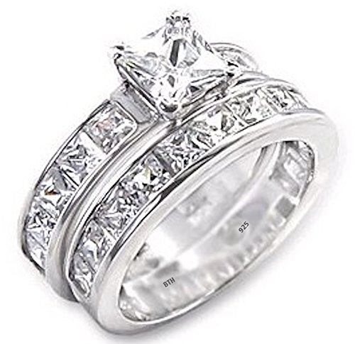 BestToHave Ladies Ring Set-925 Sterling Silver Princess Cut Simulated Diamonds CZ Wedding Engagement Ring Set - Size Z