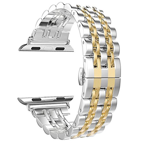 NO1seller Top Bands Compatible for Apple Watch Series 5 4 40mm 44mm Series 3 2 1 38mm 42mm Women Men,Stainless Steel iWatch Band Replacement Accessories Wristband Strap Bracelet (Gold, 42/44mm)