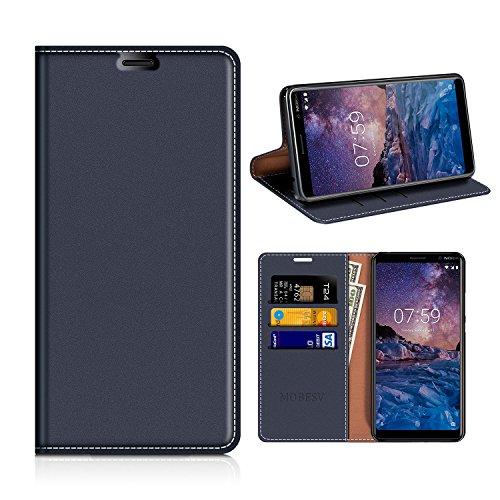 MOBESV Nokia 7 Plus Hülle Leder, Nokia 7 Plus Tasche Lederhülle/Wallet Hülle/Ledertasche Handyhülle/Schutzhülle mit Kartenfach für Nokia 7 Plus - Dunkel Blau