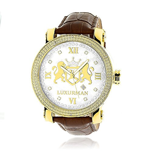 Mens Large 18k Yellow Gold Plated Diamond Watch Phantom White MOP Leather Band 0.12ctw by Luxurman