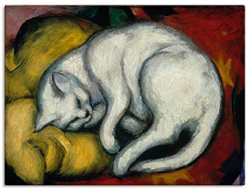 Artland Leinwandbild Wandbild Bild auf Leinwand 40x30 cm Wanddeko Franz Marc Die Weisse Katze 1912 Expressionismus Kunst Malerei T7SU