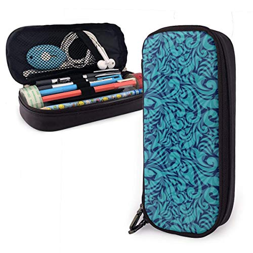 Lawenp Multifunktionspaket Turquoise Students Big Capacity Leather Pencil Case Pen Pouch Stationery...