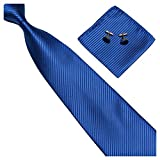 GASSANI 3-SET Blaue Krawatte Streifen gestreift | Binder Royal-Blau Manschettenknöpfe Einstecktuch | Krawattenset zum Anzug Seide-Optik