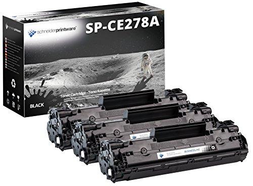 3 Schneider Printware Toner | 40% höhere Druckleistung | als Ersatz für CE278A kompatibel zu Laserjet P1560 P1566 P1600 P1601 P1602 P1603 P1604 P1605 P1606DN Laserjet pro M1536DNF M1537dnf M1538dnf, 3000 Seiten / 900 Seiten mehr Druckleistung