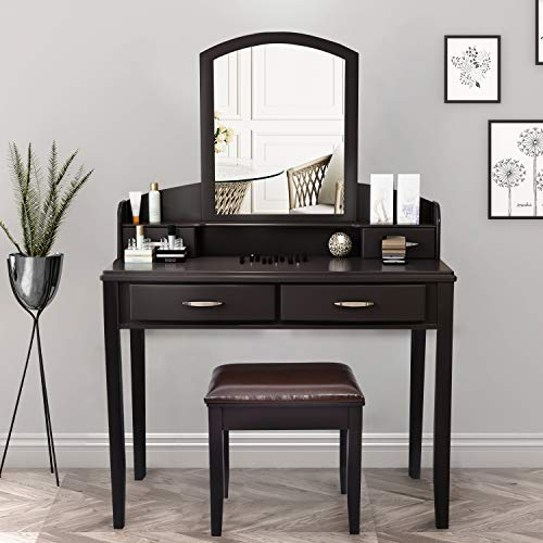 SHA CERLIN Makeup Vanity Table Set with Large Curved Mirror, Vanity Desk with 4 Drawers and Chair, Dressing Table Set for Women/Girls, Bedroom, Espresso