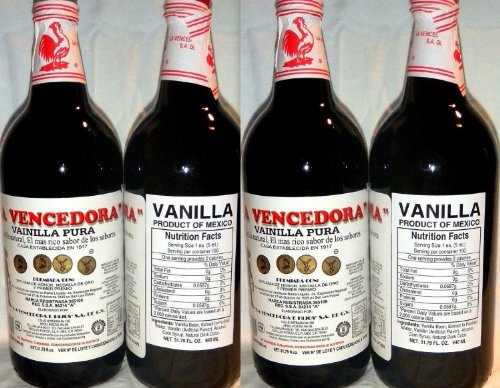 La Vencedora Mexican Vanilla Extract 31.78oz Each 4 Glass Bottles Product From Mexico