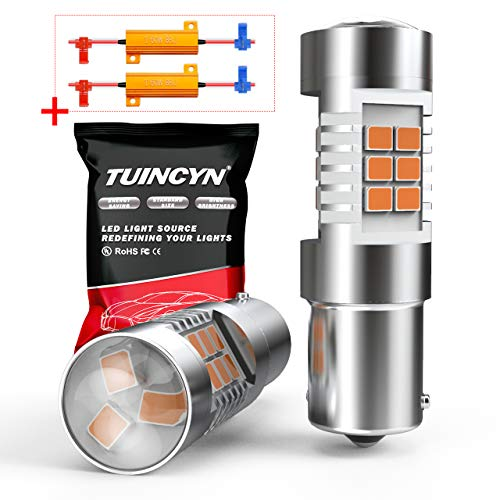 TUINCYN BAU15S Ampoules LED Ambre Clignotants Clignotants Super Lumineux 7507 PY21W 12496 fit Feux De Frein Feux De Recul Feux Arrière Feux Arrière Feux Inversés DC 12V (Pack de 2)