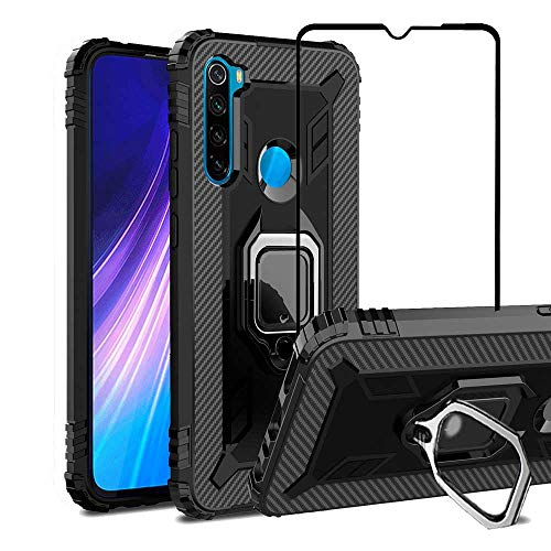 VICEANICS for Xiaomi Redmi Note 8 case with Tempered Glass Screen Protector, Soft TPU Armor Case Cover Reforced Cornors with Magnetic Finger Ring Holder Kickstand, Black
