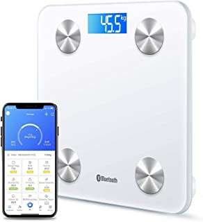 Bluetooth Body Fat Scale Digital Bathroom Scales iOS Android app Wireless Body Composition Monitor for Body Weight Body Fat, BMI, Water, Muscle Mass Bone