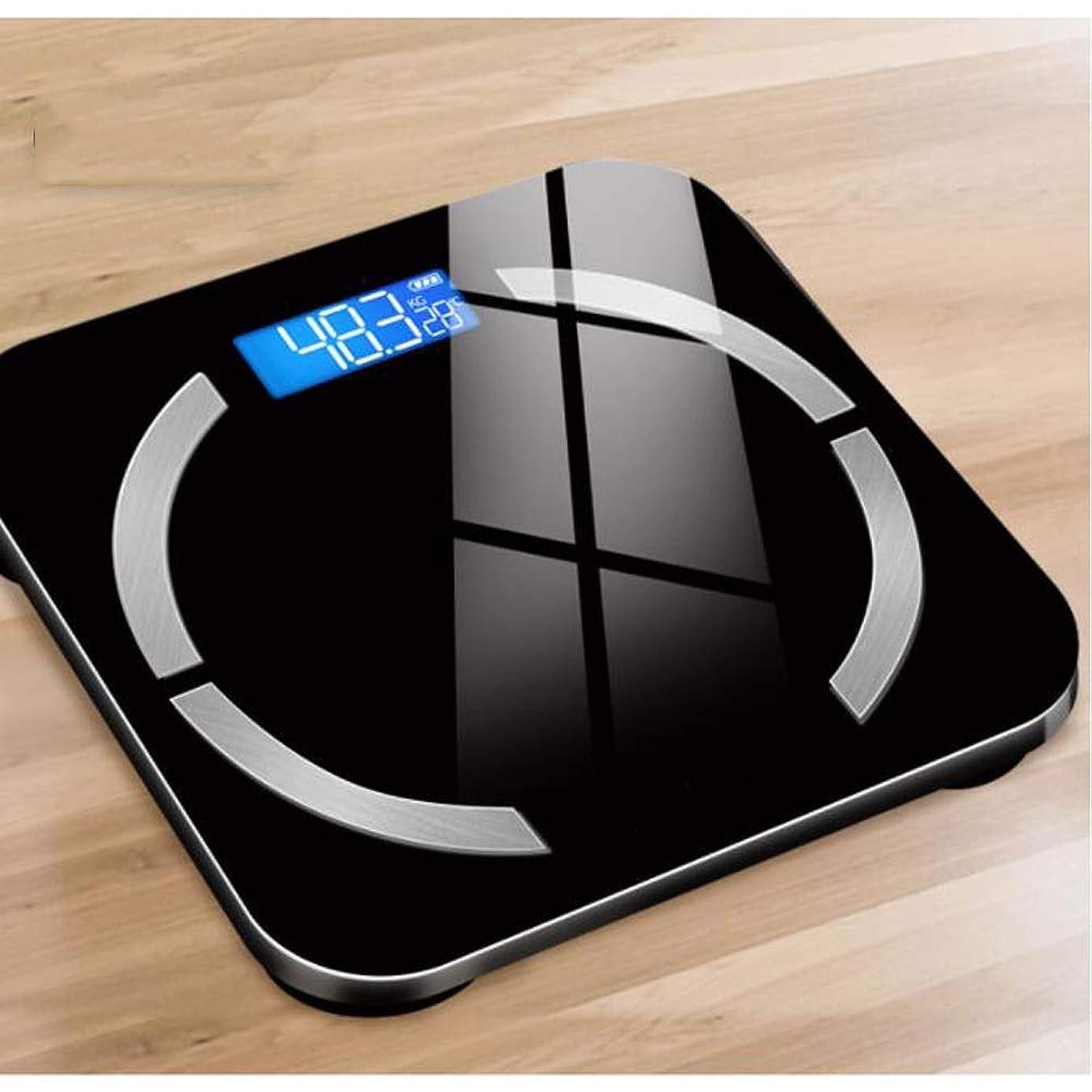 調整可能鉛筆主人スマートホーム小成人精密電子健康体重計ブルートゥースAPP USB充電-10.2 x 10.2 x 0.7インチ WJMYYX (Color : Black)