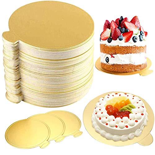 Tortenplatte Pappe Rund, 100PCS Cake Board Rund, Einweg Gold Mini Kuchen Dessert Tablett, Cakeboard Rund Gold, Tortenunterlage Round, Kartonrunder Kuchen Boden für Hochzeit Geburtstag (8cm)