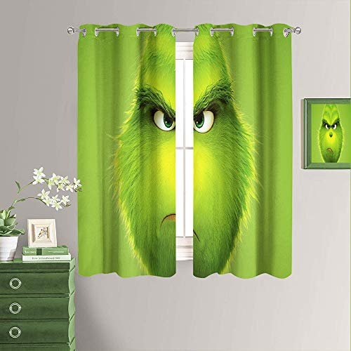 Window Treatment Blackout Curtains How The Grinch Stole Christmas New Year Decorations Microfiber Energy Saving Thermal Insulated Grommet Blackout Curtains for Bedroom ,Total Size W52 x L84 Inch