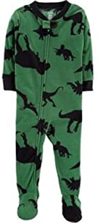 Carter's 1-Piece Dinosaur Fleece PJs, Green and Black, 12 Months