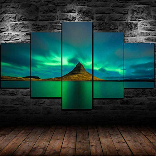 Cuadro Sobre Lienzo 5 Piezas Impresión En Lienzo Ancho: 150Cm, Altura: 100Cm Listo Para Colgar-Kirkjufell Aurora Borealis En Un Marco