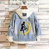 KPOP Anime Sailor Moon Cosplay Luna Denim Jacket Hoodie Pullovers Sweatshirt Fleeces Sweater