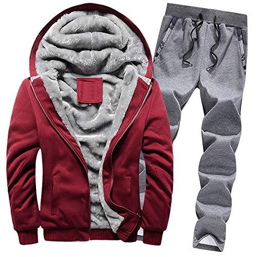 Aiserkly Herren Freizeitanzug Sportanzug Trainingsanzug Hoodie+Sporthose Winter Camouflage Warme Fleece Tracksuit Streetwear Zwei-Teilig Outwear Coat Pullover Top Hosen Sets X-F-Rot 5XL