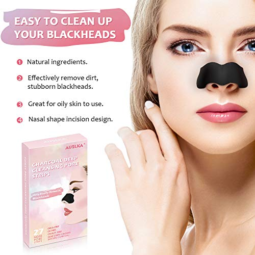 Blackhead Pore Strips, Blackhead Remover For Nose, 27 Count Deep Cleansing Charcoal Peel Off Strips