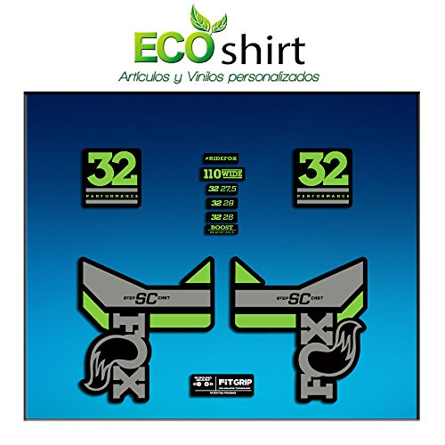 Ecoshirt DH-ZHHW-EW02 Pegatinas Stickers Fork Fox 32 SC Performance 2017 Am83 Aufkleber Decals Autocollants Adesivi Forcela Gabel Fourche, Gris Verde