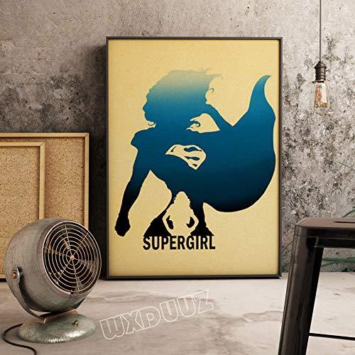 SDFSD Cartel de Dibujos Animados de Personaje de película de superhéroe Estadounidense Colorido Simple para habitación de niños Dormitorio Pared Arte Imagen Lienzo Pintura 60 * 80 cm W