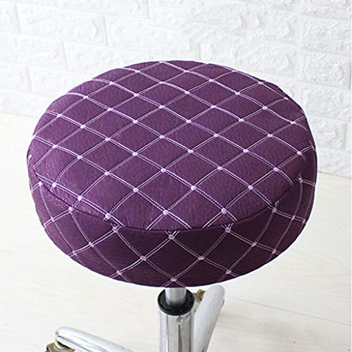 Slipcovers 40cm Bar Stool Cover Round Chair Seat Cover Elastic Sleeves Fit 15-16' Dia. - (Color:Purple)