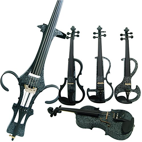 aliyes Holz Elektrische Violine Full Size 4/4fortgeschrittenen Elektrische Silent Violine (Kunst weiß Blumen) (alkit-006) ALDSG-1306