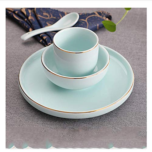 Cuchara moderna de la moda La vajilla de cerámica familiar de cuatro piezas del restaurante de la familia con un tazón de oro y una cuchara se pueden lavar en el lavavajillas. Uso diario adecuado jueg