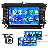Oiliehu Android Autoradio mit Apple Carplay Navi für VW 7 Zoll Touchscreen Autoradio Unterstützung Bluetooth GPS Lenkradsteuerung USB + Rückfahrkamera