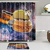 SUDISSKM de alfombras de baño con Cortinas de Ducha Alfombrillas de baño Antideslizantes Impermeables Conjuntos,Abstracto Azul Negro Universo Estrellado Llama cósmica Burger Cat
