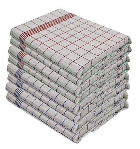 Lot de 6 torchons Gluecksshop - 100 % coton - Lavable en machine à 95 °C - Dimensions : 50 x 70 cm - Couleur : bleu ou rouge ou mélange (3 bleus + 3 rouges)