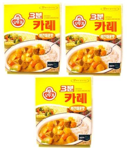 Ottogi 3 Minute Curry Medium Spicy Flavor, Product of Korea 6.7 Oz Each: 3 Packs