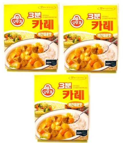 Ottogi 3 Minute Curry Medium Spicy Flavor, Product of Korea 6.7 Oz Each: 3 Packs by N/A