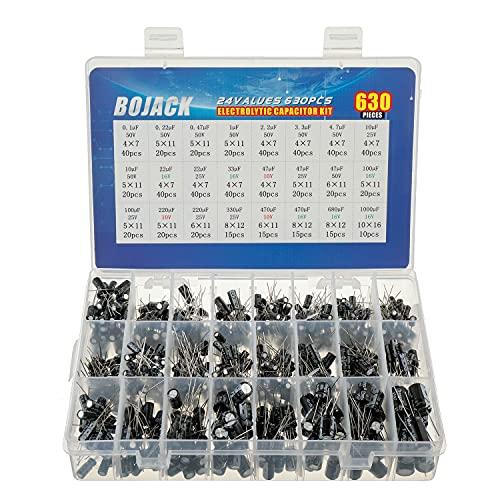 BOJACK 24 valori 630 pezzi alluminio condensatori elettrolitici assortimento scatola kit gamma 0.1uF-1000uF