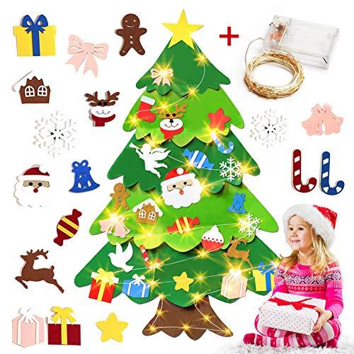 Fieltro Del áRbol de Navidad Decoraciones de Bricolaje Set de 50 Luces LED de Cadena - -3.3 Pies de Pared Colgante de Adornos NavideñOs Desmontables Para Los NiñOs