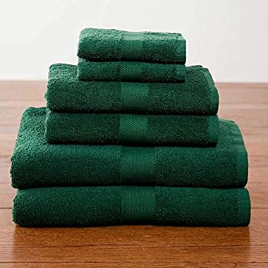 Lantrix Soft 100% Natural Cotton 6 Piece Towel Set (Hunter Green)