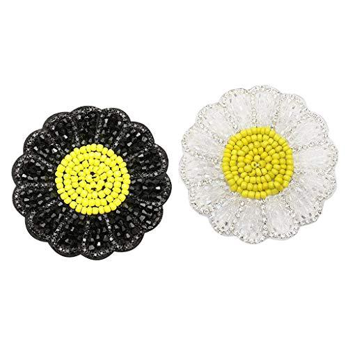 Amuzocity Paquete de 2 Parches para Planchar/Coser Flores de Diamantes
