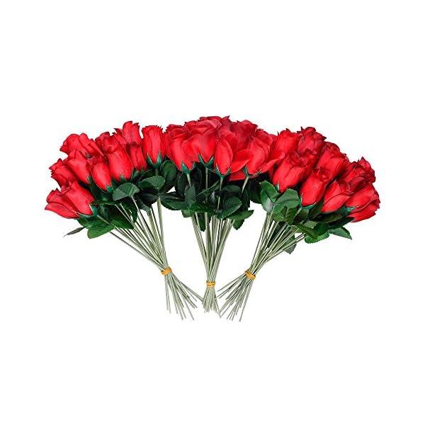 Schramm® 24-Pack setos Rosas Rojas 26cm Rosas Artificiales Flores Artificiales Flores de Seda Rosa roja