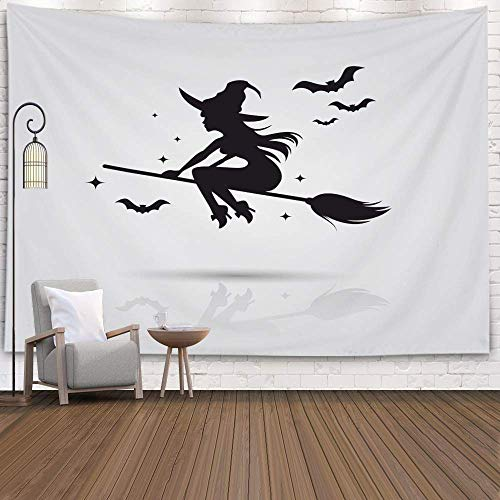 N\A Tapestry, Hanging Tapestry for D & eacute; Cor Soggiorno Dormitorio di Flying Young Witch Icon Silhuette on a Broomstick, Silver Pink