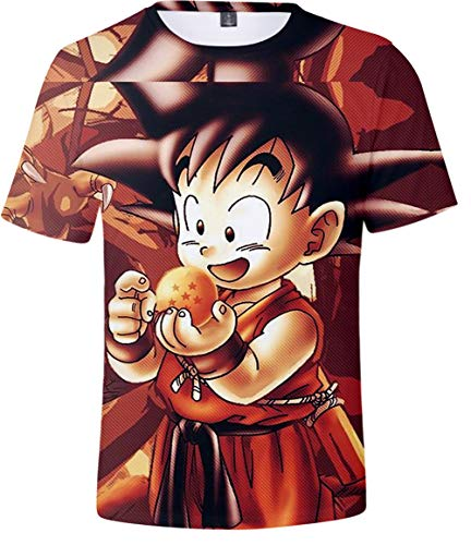 HAOSHENG Unisex T-Shirt Colorful Impreso en 3D Anime Goku Super Saiyan Camisetas Hip...