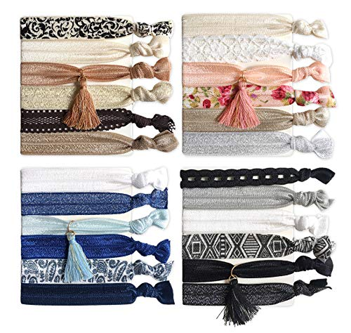 24PCS Ribbon Hair Ties, Comfy Elastic Hair Ties with Tassel, No Crease Ponytail Holders Hair Bands for Girls and Women