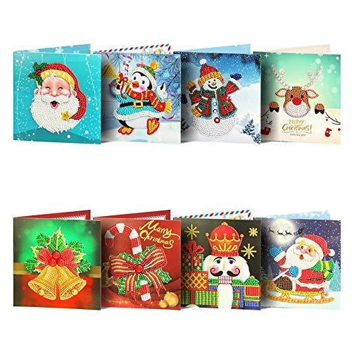 Wenskaarten BLTLYX Diy kerstkaart Diamond schilderij wenskaart 5D creatieve DIY Diamond schilderij verjaardagskaart kerst 15 * 15cm zoals afgebeeld