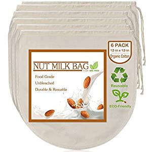"6 Pack 12""x12"" Nut Milk Bags - 100% Unbleached Organic Cotton Cheesecloth, Reusable Food Strainer Colander For Straining Almond/Oat Milk, Celery Juice, Cold Brew Coffee, Yogurt and Cheese Making 