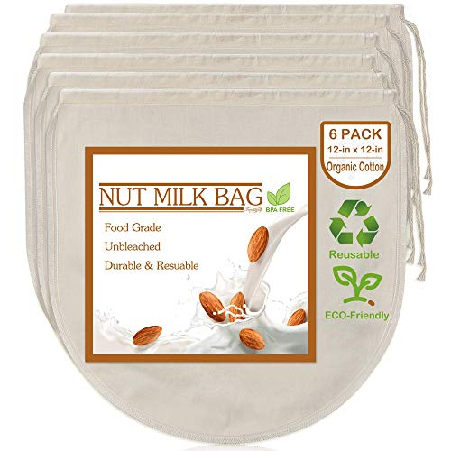 6 Pack 12x12 Nut Milk Bags - 100 Unbleached Organic Cotton Cheesecloth Reusable Food Strainer Colander For Straining AlmondOat Milk Celery Juice Cold Brew Coffee Yogurt and Cheese Making
